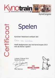 Kynocongres 2013, spelen, certificaat deelname (1)